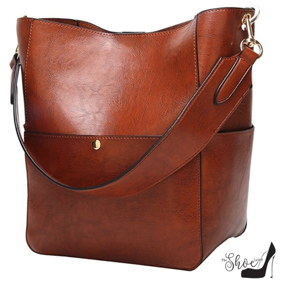 The Shoe Loft Handbags - Cognac Hobo Style Bucket Bag with Handle/Strap